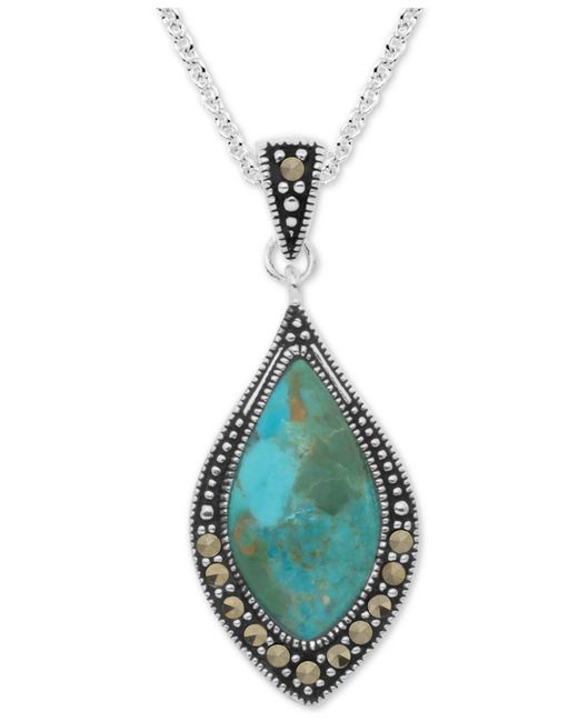"""Macy's - Marcasite & Blue Stone 18"""" Pendant Necklace In Fine Silver-plate - Lyst"""