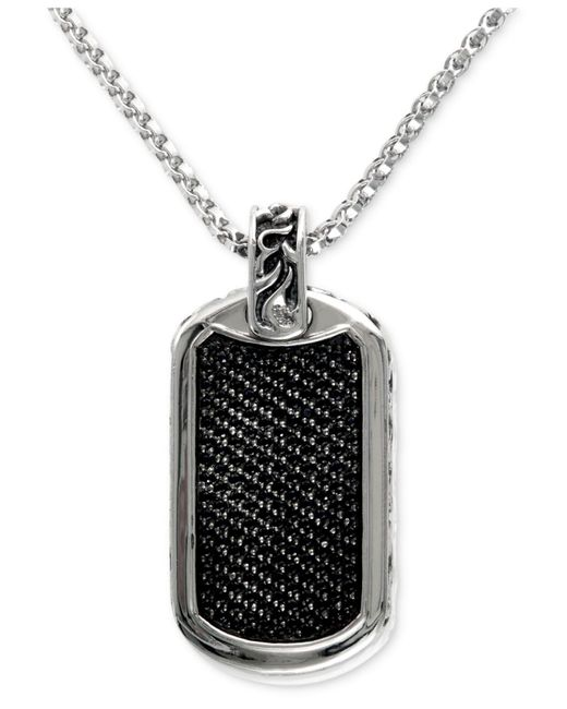 Effy Collection | Metallic Men's Black Sapphire Id Tag Pendant (1-3/4 Ct. T.w.) In Sterling Silver | Lyst