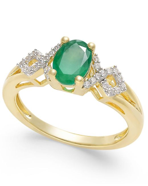 Macy's - Green Ruby (9/10 Ct. T.w.) And Diamond (1/8 Ct. T.w.) Ring In 14k Gold(also Available In Emerald & Sapphire) - Lyst