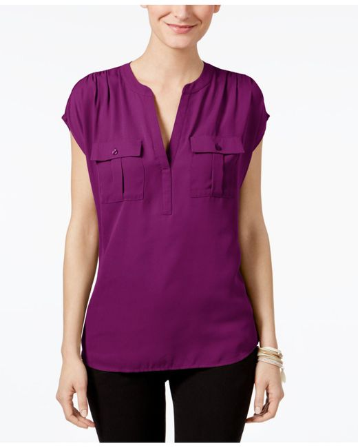 INC International Concepts - Purple Mixed-media Utility Shirt, Only At Macy's - Lyst