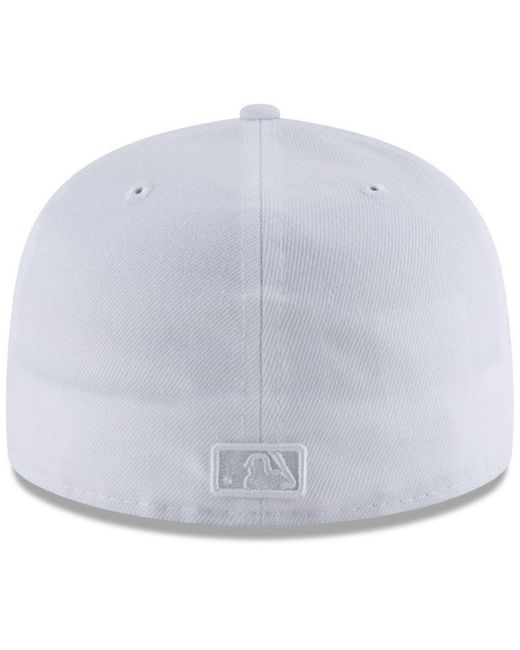 buy online 6a00d b2d9c ... KTZ - Chicago Cubs White Out 59fifty Fitted Cap for Men - Lyst ...