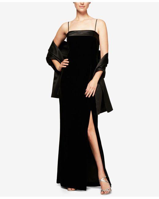 Alex Evenings   Black Velvet & Satin Column Gown With Shawl   Lyst