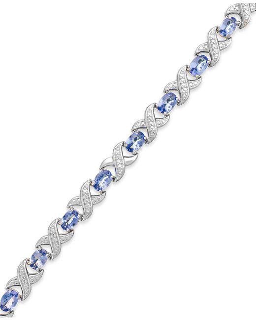 Macy's - Metallic Tanzanite (7 Ct. T.w.) And Diamond Accent Xo Bracelet In Sterling Silver - Lyst