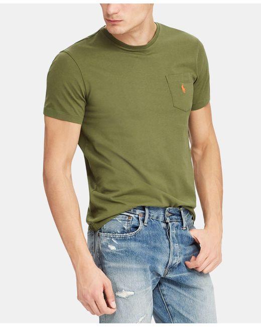 0cf1e2492 Polo Ralph Lauren Crew Neck Pocket T-shirt in Green for Men - Save ...