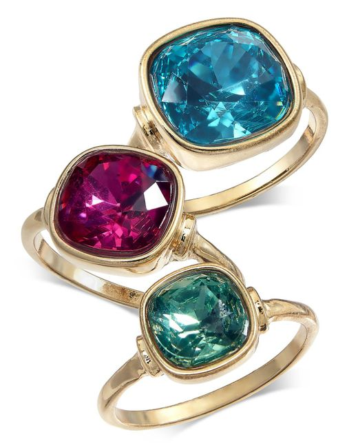 INC International Concepts - Blue I.n.c. Gold-tone 3-pc. Set Stone Statement Rings, Created For Macy's - Lyst