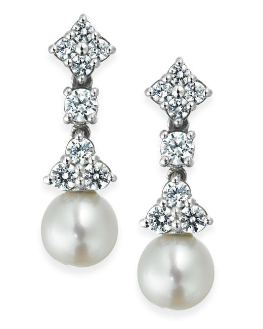 Arabella - Metallic Cultured Freshwater Pearl (7mm) And Swarovski Zirconia (1-5/8 Ct. T.w.) Drop Earrings In Sterling Silver - Lyst
