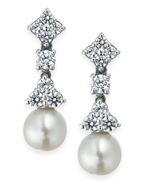Arabella | Metallic Cultured Freshwater Pearl (7mm) And Swarovski Zirconia (1-5/8 Ct. T.w.) Drop Earrings In Sterling Silver | Lyst