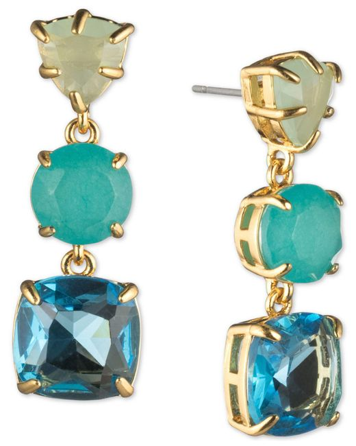 Carolee - Blue Gold-tone Stone Triple Drop Earrings - Lyst