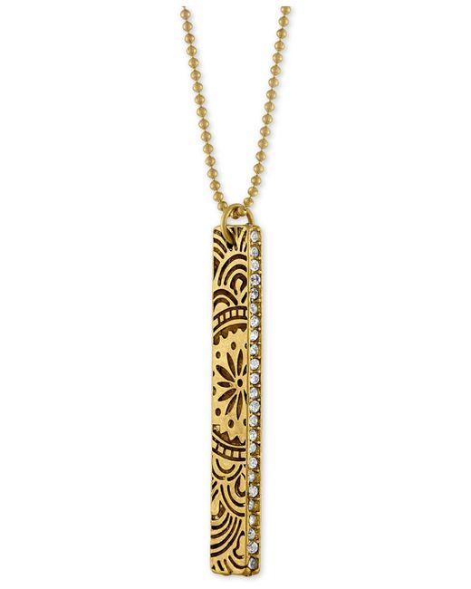 RACHEL Rachel Roy | Metallic Gold-tone Crystal Studded Decorative Bar Pendant Necklace | Lyst
