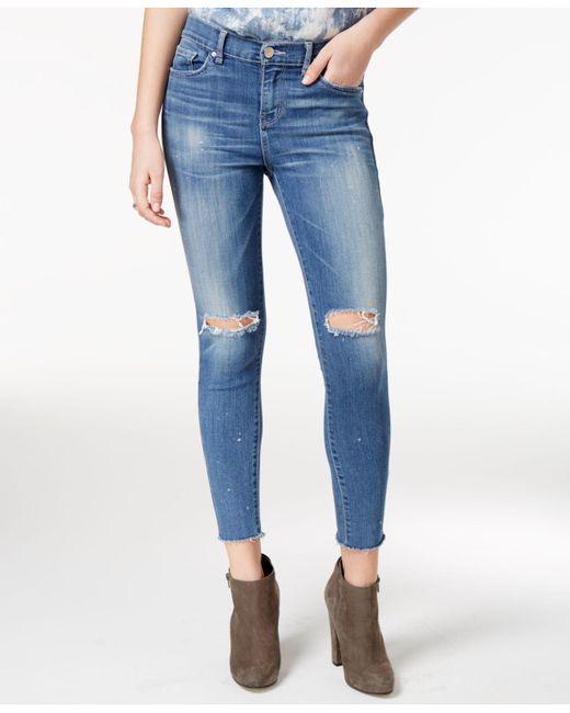 William Rast | Blue Cropped Midnight Twill Wash Skinny Jeans | Lyst
