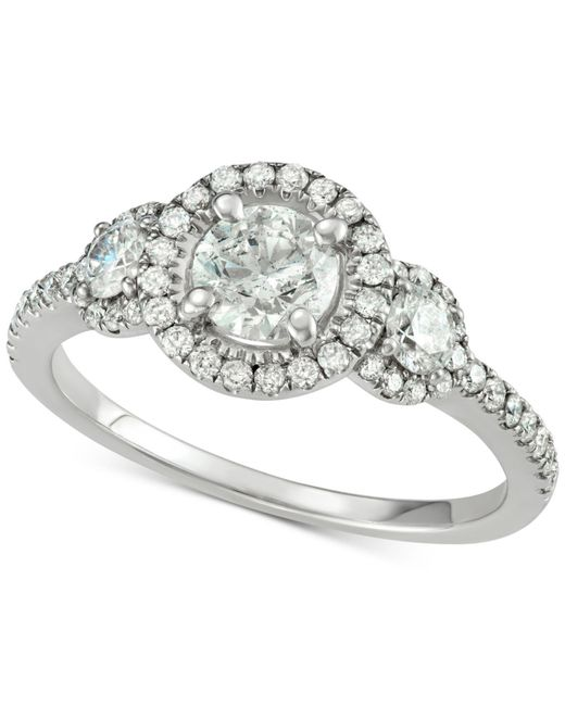 Macy's - Metallic Diamond Triple Halo Engagement Ring (1-5/8 Ct. T.w.) In 14k White Gold - Lyst