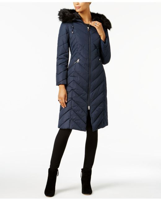Laundry by Shelli Segal - Blue Faux-fur-trim Long Puffer Coat - Lyst