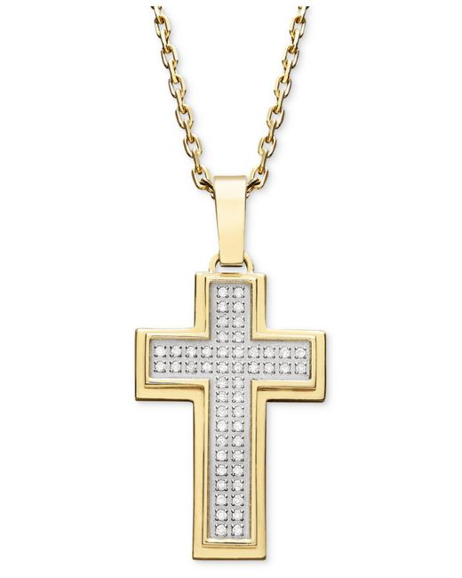 Macy's | Metallic Men's Diamond Cross Pendant Necklace In Gold Ion-plated Stainless Steel (1/4 Ct. T.w.) for Men | Lyst