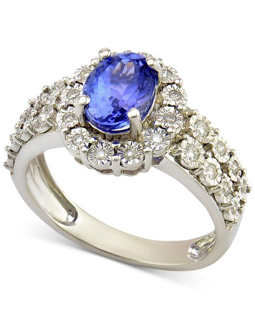 Macy's - Metallic Sapphire (1-1/4 Ct. T.w.) And Diamond (1/4 Ct. T.w.) Ring In 14k White Gold (also Available In Tanzanite) - Lyst