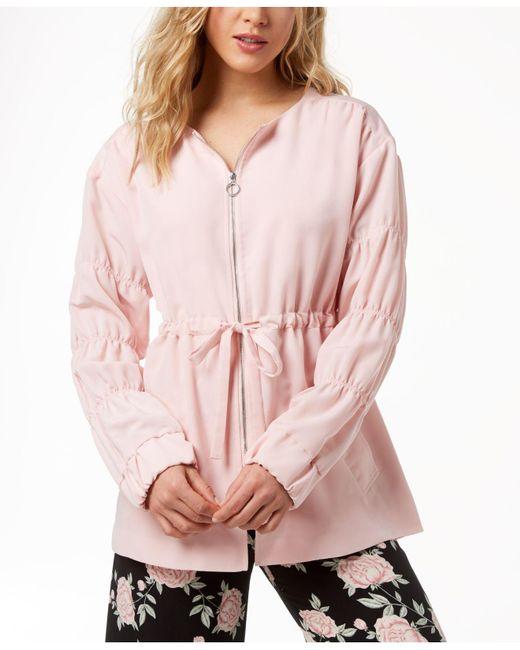 Kensie - Pink Ruched-sleeve Anorak Jacket - Lyst