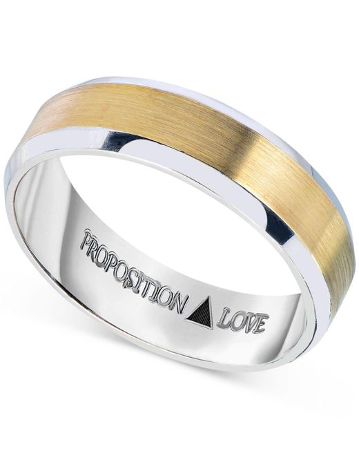 Proposition Love - Orange Men's Wedding Band In 14k White And Yellow Gold for Men - Lyst