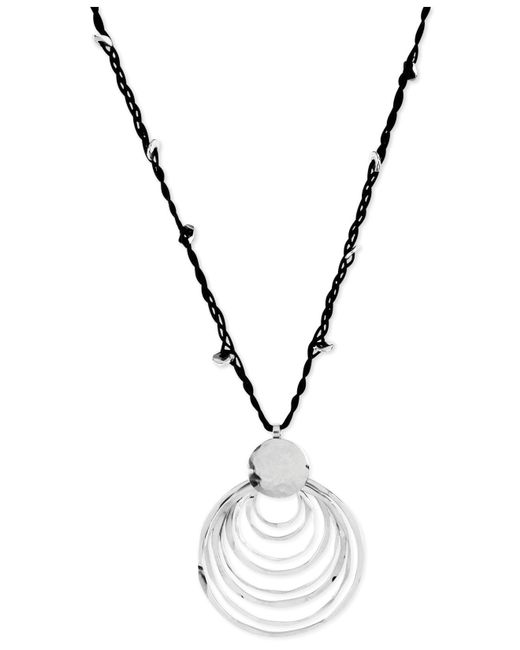 Robert Lee Morris - Metallic Silver-tone Black Cord And Hammered Ring Pendant Necklace - Lyst