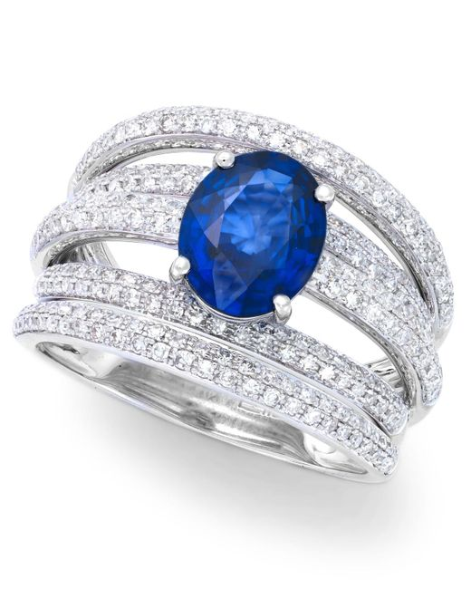 Effy Collection - Metallic Diffused Sapphire (1-9/10 Ct. T.w.) And Diamond (7/8 Ct. T.w.) Ring In 14k White Gold - Lyst
