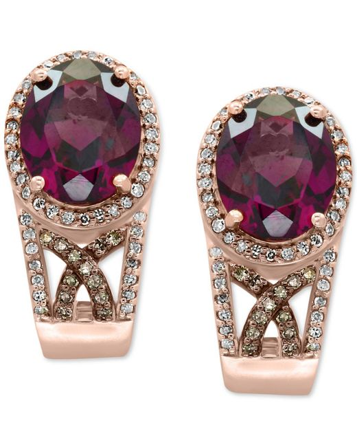 Effy Collection | Multicolor Rhodolite Garnet (4-1/2 Ct. T.w.) And Diamond (3/8 Ct. T.w.) Drop Earrings In 14k Rose Gold | Lyst