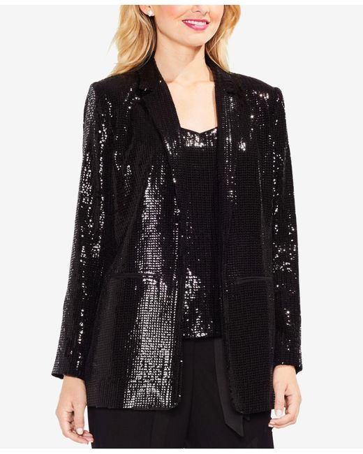 Vince Camuto | Black Notched-collar Sequined Blazer | Lyst