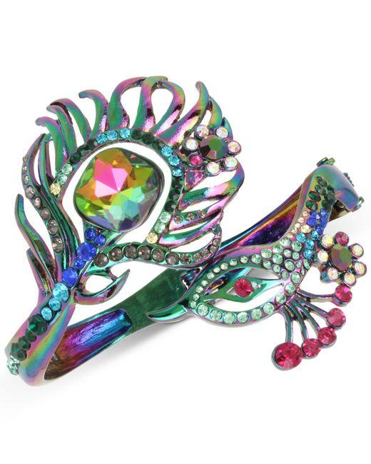 Betsey Johnson | Blue Oilslick-tone Multi-stone Peacock Open Hinged Bangle Bracelet | Lyst
