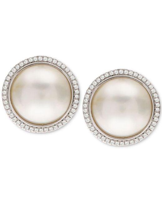 Macy's - Metallic South Sea Cultured Mabé Pearl (12mm) & White Topaz (3/8 Ct. T.w.) Stud Earrings In Sterling Silver - Lyst
