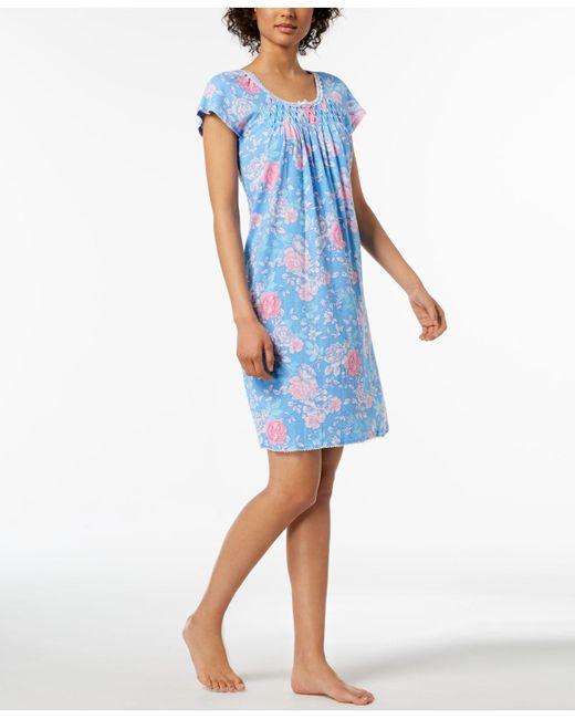 Miss Elaine - Blue Rose-print Picot-trim Nightgown - Lyst