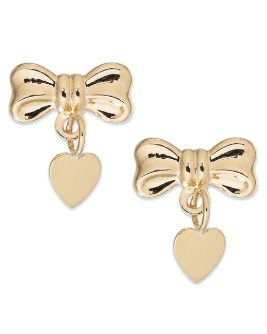 Macy's | Metallic Bow And Heart Drop Earrings In 14k Gold | Lyst