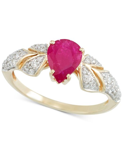 Rare Featuring Gemfields - Pink Certified Ruby (7/8 Ct. T.w.) And Diamond (1/3 Ct. T.w.) Ring In 14k Gold - Lyst