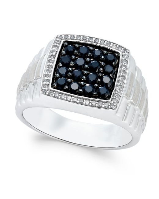 Macy's - Metallic Men's Black Sapphire (1 Ct. T.w.) And White Sapphire (1/5 Ct. T.w.) Ring In Sterling Silver for Men - Lyst