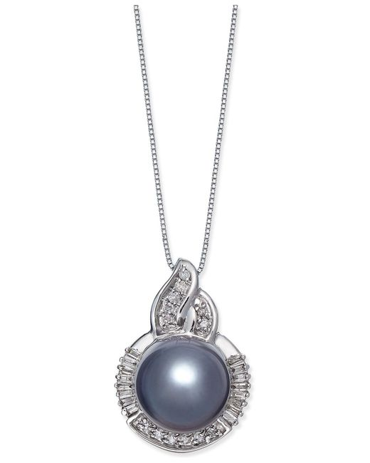 Macy's | Cultured Tahitian Black Pearl (11mm) And Diamond (1/3 Ct. T.w.) Pendant Necklace In 14k White Gold | Lyst