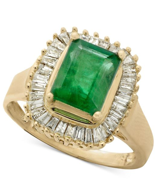 Effy Collection - Green Sapphire (1-5/8 Ct. T.w.) And Diamond (5/8 Ct. T.w.) Ring In 14k White Gold - Lyst