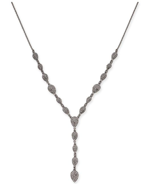 "INC International Concepts - Metallic I.n.c. Silver-tone Pavé Lariat Necklace, 24"" + 3"" Extender, Created For Macy's - Lyst"