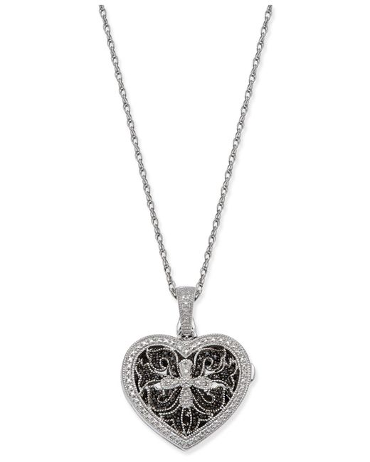 Macy's - Metallic Diamond Locket Pendant Necklace (1/10 Ct. T.w.) In Sterling Silver - Lyst