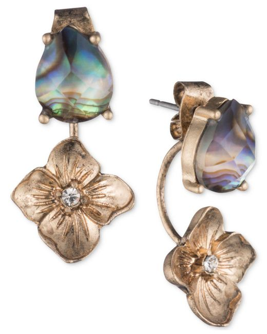 Lonna & Lilly   Metallic Gold-tone Abalone & Flower Front & Back Earrings   Lyst