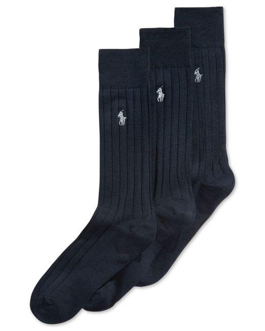 Polo Ralph Lauren | Blue Three-pack Crew Socks for Men | Lyst