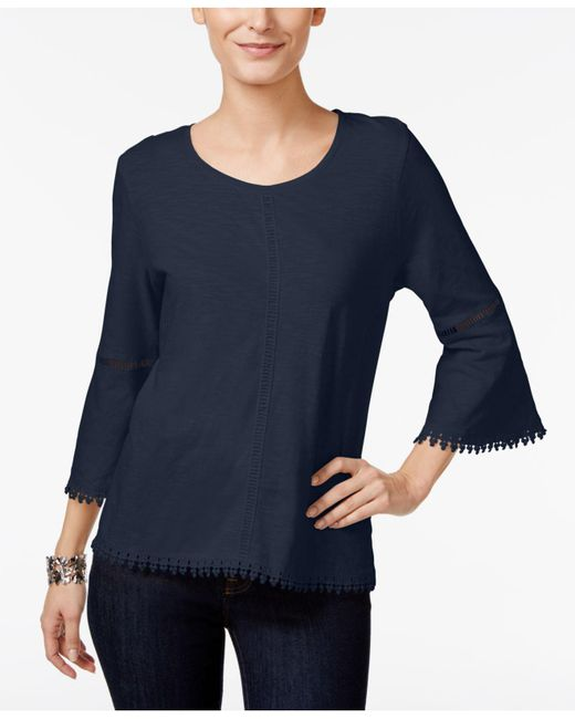 Style & Co. - Blue Crochet-trim Bell-sleeve Top - Lyst