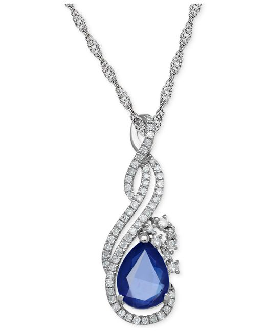 Macy's - Blue Sapphire (1-1/3 Ct. T.w.) And Diamond (1/5 Ct. T.w.) Pendant Necklace In 14k White Gold - Lyst