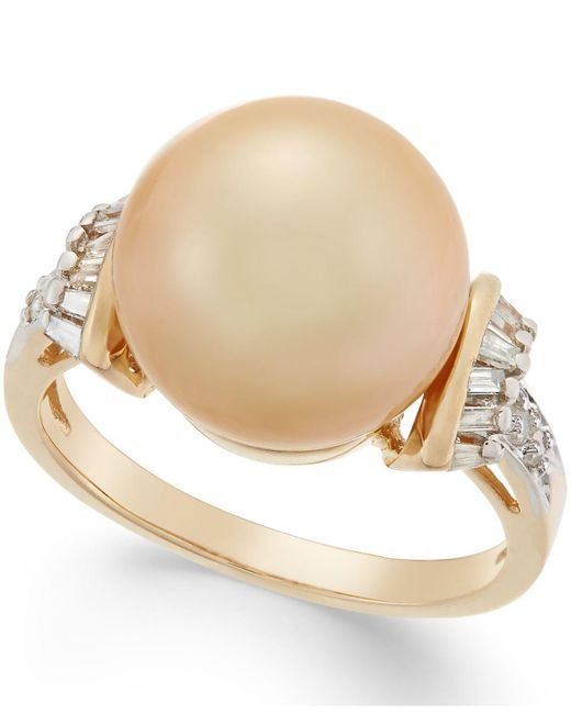 Macy's - Metallic Cultured Golden South Sea Pearl (12mm) And Diamond (1/4 Ct. T.w.) Ring In 14k Gold - Lyst