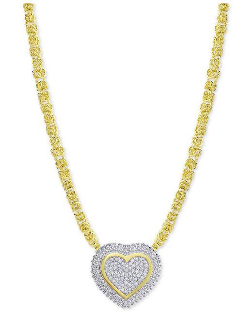 Macy's - Metallic Diamond Heart Byzantine Pendant Necklace (1/2 Ct. T.w.) In 18k Gold-plated Sterling Silver - Lyst