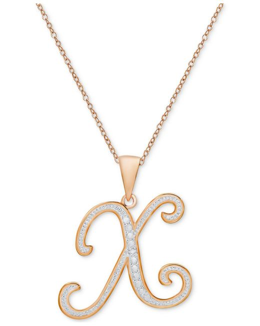 Macy's - Metallic Diamond Accent Initial Pendant Necklace In Rose Gold-plate - Lyst