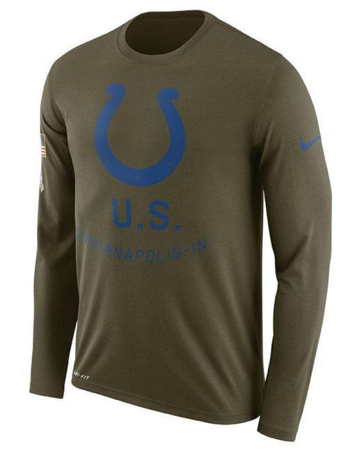 Nike - Green Indianapolis Colts Salute To Service Legend Long Sleeve  T-shirt for Men ... 06190344a