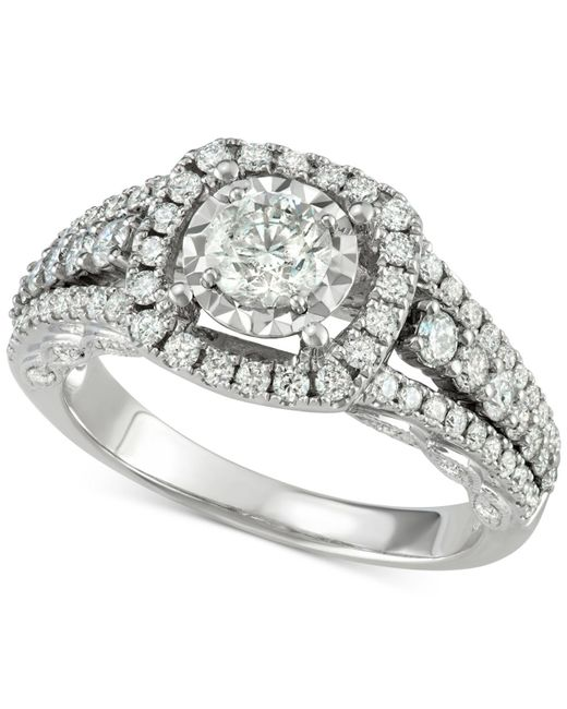 Macy's - Metallic Diamond Halo Engagement Ring (1-5/8 Ct. T.w.) In 14k White Gold - Lyst