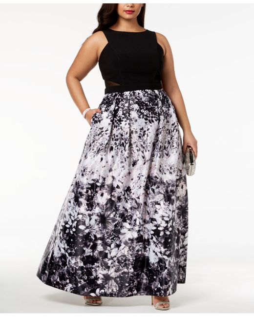 3031ceb609e Xscape Plus Size Solid   Floral-print Gown in Black - Lyst