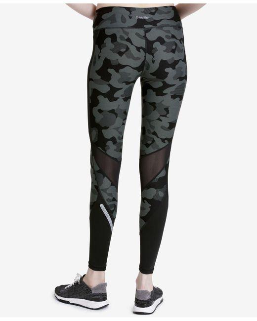 Calvin Klein | Black Printed Mesh-trimmed Leggings | Lyst