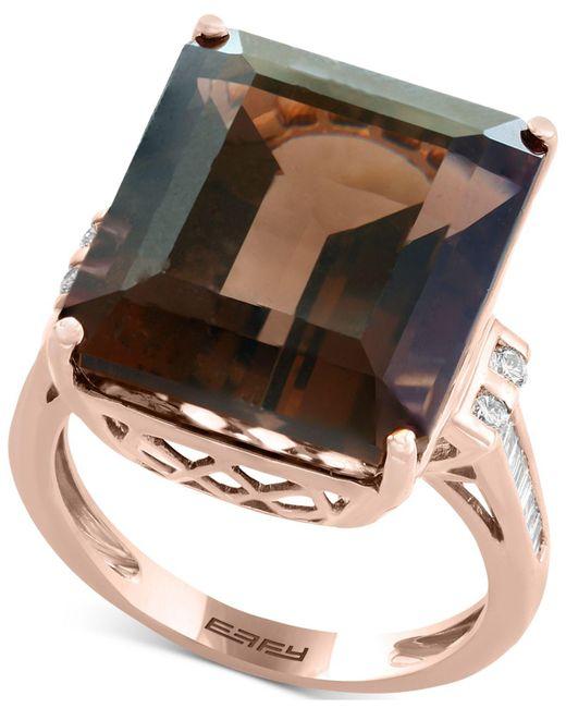 Effy Collection - Metallic Smoky Quartz (16-9/10 Ct. T.w.) & Diamond (1/5 Ct. T.w.) Ring In 14k Rose Gold - Lyst