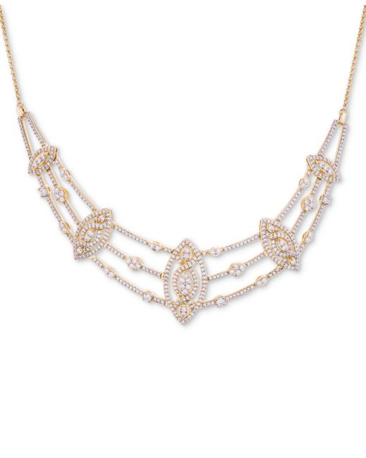 """Wrapped in Love - Metallic Tm Diamond Pavé Marquise Cluster 17"""" Statement Necklace (2 Ct. T.w.), Created For Macy's - Lyst"""