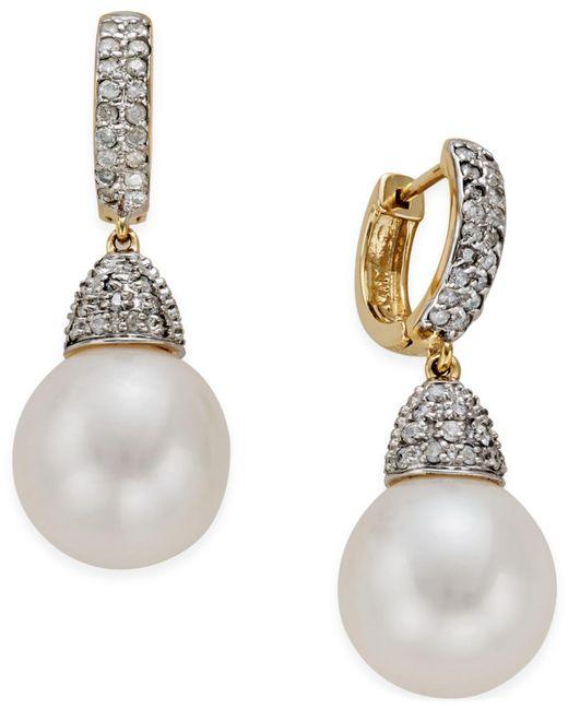 Macy's - Metallic Freshwater Pearl (11mm) And Diamond (3/4 Ct. T.w.) Drop Earrings In 14k Gold - Lyst