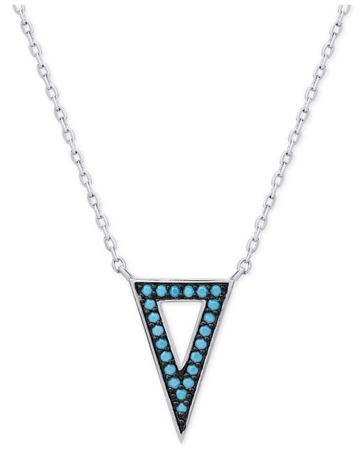 Macy's   Metallic Manufactured Turquoise Triangle Pendant Necklace In Sterling Silver   Lyst