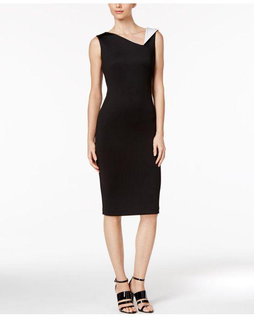 3b8eb731 Calvin Klein Contrast Collar Midi Sheath Dress in Black - Save 60 ...